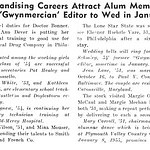 Secretarial, Teaching, Merchandising Careers Attract Alum Members Claire M. Schmieg, Former ?Gwynmercian? Editor to Wed in January