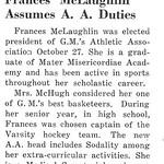 Frances McLaughlin Assumes A. A. Duties