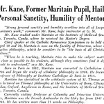 Mr. Kane, Former Maritain Pupil, Hails Personal Sanctity, Humility of Mentor