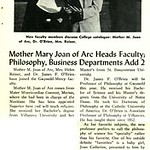 Mother Mary Joan of Arc Heads Faculty; Philosophy, Business Departments Add 2